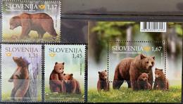 SLOVENIA 2019 Fauna - Brown Bear (Ursus Arctos) Set **MNH Michel # 1379,1380,1381,B118 - Slowenien