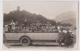 Carte Photo Automobile 1930  Autocar De Touristes Dans Les Pyrenées (64) Excursion à Gavarnie Arrêt Photo !! - Aérodromes