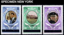 Caicos Islands 1981 Diana Wedding OVPT NY Bold SPECIMEN SET:3 (fr.sheetlet) - Turks & Caicos (I. Turques Et Caïques)