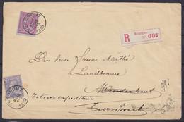 """L. Recommandée Affr. N°46+48 Càd TURNHOUT /25 MARS 1889 Pour Fermier à MINDERHOUT - """"retour Expéditeur Turnhout) (au Dos - 1884-1891 Leopoldo II"""