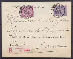 L. Recom. Affr. N°46+48 Càd ANVERS /25 OCTO 1886 Pour Secrétaire De L'Exposition Des Beaux-Arts Casino De GAND - ! 2 Der - 1884-1891 Leopoldo II