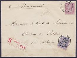 """L. Recommandée Affr. N°46+48 Càd LOUVAIN /8 NOV 1888 Pour Château De Villers Par Dolhain (au Dos: Note Facteur """"Absent L - 1884-1891 Leopoldo II"""