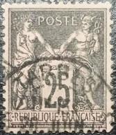 N° 97a. Sage 25c Noir Sur Rose Foncé. Oblitéré CàD Tarbes - 1876-1898 Sage (Tipo II)