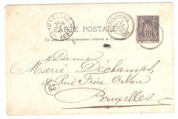 MAREUIL-S-OURCQ Oise Carte Postale 10 Sage Noir S/U Yv 89 Dest Bruxelles Marques D'arrivée Ob 29 6 1899 - France