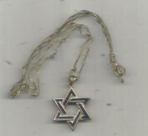 PENDENTIF , Chaine , Médaille , ETOILE DE DAVID , 2 Scans , Email , Frais Fr 1.45 E - Pendants