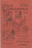 CARTE CONFEDERALE CGT 1934 - AIR - GUERRE -MARINE -                                    TDA109 - Gewerkschaften