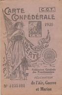 CARTE CONFEDERALE CGT 1935 - AIR - GUERRE -MARINE -                                    TDA109 - Gewerkschaften