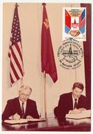 URSS - 2 Cartons - Entente URSS / Etats Unis - Gorbatchev - Reagan - Oblit Moscou 29/05/1988 - 1923-1991 URSS
