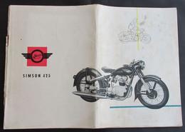 Motorbike, Motorcycle, Motorrad, Fahrrad - SIMSON, Old Catalogue Prospectus, DDR Germany - Motorräder