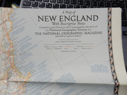 1) NATIONAL GEOGRAPHIC A MAP OF NEW ENGLAND WITH DESCRIPTIVE NOTE 1955 - Europe