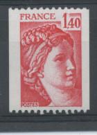 FRANCE -  1F40 Rouge SABINE N° ROUGE AU DOS -  N° Yvert 2104a** - 1977-81 Sabine Of Gandon