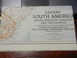 1) NATIONAL GEOGRAPHIC EASTERN SOUTH AMERICA 1955 BRAZIL PARAGUAY URUGUAY AND THE GUIANAS - Europe