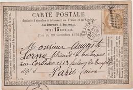 Hérault N°55  GC + T18 Béziers 1876 / CP Précurseur - 1849-1876: Klassieke Periode