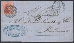 """Belgique 1863-Lettre De Bruxelles  à Destination Bordeaux COB. Nª  16 Obliteré: """"PD"""" """"BRUXELLES""""..(DD) DC-9507 - 1863-1864 Medaillons (13/16)"""