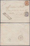 Belgique 1869-Lettre Recomandée De Marchienne-au-Pont Vers Bruxelles. COB Nº 28+35. SUP ..(DD) DC-9512 - 1869-1888 Liggende Leeuw