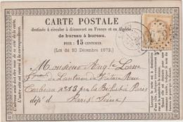 Bouches Du Rhône, N°55 GC Cad T17 Salon 1875 / CP Précurseur - 1849-1876: Klassieke Periode