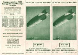 DEUTSCHE ZEPPELIN REEDEREI HORAIRE TARIFS 1936 ALLEMAGNE AMERIQUE DU NORD - Mondo