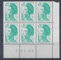 LIBERTE N° 2181 - Bloc De 6 COIN DATE - NEUF SANS CHARNIERE - 7/8/86 - 1980-1989