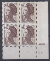 LIBERTE N° 2183 - Bloc De 4 COIN DATE - NEUF SANS CHARNIERE - 9/9/85 - 1980-1989