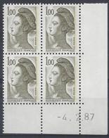 LIBERTE N° 2185 - Bloc De 4 COIN DATE - NEUF SANS CHARNIERE - 4/2/87 - 1980-1989