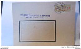 """Dienst: Orts-Brf -M 304552- ZKD-Streifen Orangegelb/orangerot Aus VEB Edelstahlwerk """"8.Mai 1945""""Freital 30.7.58 Knr 18IM - Service"""