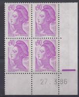 LIBERTE N° 2242 - Bloc De 4 COIN DATE - NEUF SANS CHARNIERE - 27/3/86 - 1980-1989