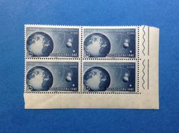 1956 ITALIA FRANCOBOLLI NUOVI ITALY STAMPS NEW MNH** QUARTINA CONGRESSO ASTRONAUTICO INTERNAZIONALE - 1946-60: Mint/hinged