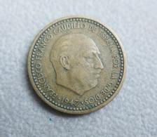 Monnaie D'Espagne—1 Peseta—Franco 1re Effigie—1947—Etat Moyen - [ 4] 1939-1947 : Gobierno Nacionalista
