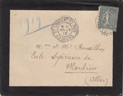 ARDECHE LAC 1919 ST LAURENT DU PAPE FACTEUR BOITIER TYPE 84 - 1877-1920: Periodo Semi Moderno