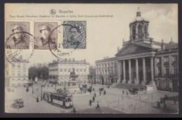 """Postkaart """"Bxl Place Royale Monument"""" Gefrankeerd 5c O.a. Albert I Helm 1c (OBP 165) - Gestempeld BRUXELLES LW - 1919-1920 Trench Helmet"""