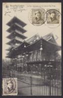 """Postkaart """"Bxl Laeken La Tour Japonaise"""" Gefrankeerd 5c Albert I Helm 1c+2c (OBP 165-166) - Gestempeld BRUXELLES LW - 1919-1920 Trench Helmet"""