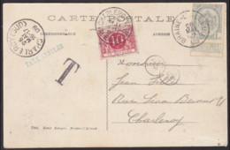 Postkaart 1909 Gefrankeerd 1c Wapenschild BRAIN L'ALLEUD - Getaxeerd 10c CHARLEROY (SUD) VALEURS - TAXE ANNULEE - Postage Due