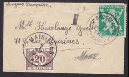 Kleine Briefromslag 1945 Gefrankeerd BRUXELLES 5L BRUSSEL - Getaxeerd 10c MAISIERES + Griffe T - Postage Due
