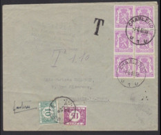 Briefomslag 1950 Gefrankeerd 1fr 20 CHARLEROIL - Getaxeerd 1fr10c GOZEE + Griffe T - Postage Due