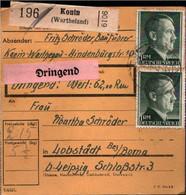 ! 1943 Konin Im Wartheland Nach Lobstädt, Paketkarte, Deutsches Reich, 3. Reich - Covers & Documents