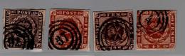 DANEMARK : Lot De 4 Timbres Anciens Oblitérés Avec Filigrane Couronne Yvert  2 4 8 10 - Oblitérés