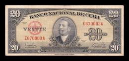 Cuba 20 Pesos Antonio Maceo 1949 Pick 80a BC/MBC F/VF - Cuba