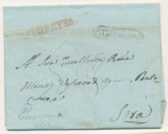 1842 REGNO DI NAPOLI  PREFILATELICA SAN GERMANO (OGGI CASSINO) TASAS 3 CORRETTA A 5 TESTO DA ROCCAGUGLIELMA - 1. ...-1850 Prephilately