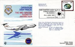 NOUVELLE-ZELANDE. Enveloppe Commémorative De 1981. Mid-Winter Flight Christchurch/Operation Deep Freeze. - Polar Flights