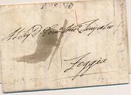 1814 REGNO DI NAPOLI PERIODO GIOACCHINO NAPOLEONE MURAT PREFILATELICA ARPINO LINEARE NERO TASSA 15 X FOGGIA - 1. ...-1850 Prefilatelia