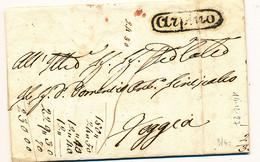 1827 REGNO DI NAPOLI PREFILATELICA ARPINO OVALE NERO TASAS 5 X FOGGIA - 1. ...-1850 Prephilately