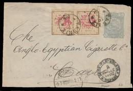 1902 - IRAN PERSIA - UPRATED POSTAL STATIONERY 10c FRONT + 1Ch PAIR Sc. 247 - TABRIZ To CAIRO Via CONSTANTINOPLE - Irán