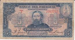 BILLETE DE PARAGUAY DE 5 GUARANIES DEL AÑO 1943  (BANKNOTE) - Paraguay