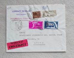 Busta Di Lettera Raccomandata Espresso Da Civitavecchia Per Aosta 1957 - Correo Urgente/neumático