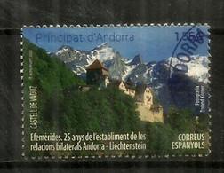 Emission Conjointe Principautés De Liechtenstein & Andorra, Timbre Oblitéré, 1 ère Qualité. AND.ESP - Gebruikt