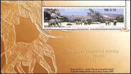 NAMIBIA 2003, ELEPHANT, MOST BEAUTIFUL STAMP IN THE WORLD, MNH MINIATURE SHEET. - Elephants