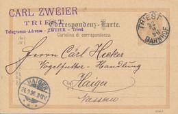 TRIEST -  1896  ,  Correspondenz-Karte Nach Haiger - Enteros Postales