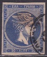 GREECE Missing Perl In 1875-80 Large Hermes Head On Cream Paper 20 L Ultramarine Vl. 65 D - Usati