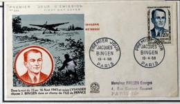 """1958 FDC N° 1160 - HÉROS DE LA RÉSISTANCE """" JACQUES BENGIN """" (1908-1944) - 1950-1959"""