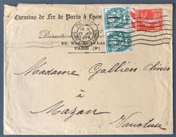 France N°111 (x2) Et 194 Sur Enveloppe Des Chemins De Fer De Paris à Lyon 13.8.1926 - (C1996) - Postmark Collection (Covers)